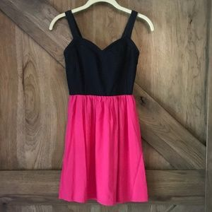 Love Ady Dark Denim & Hot Pink Sundress Pockets XS